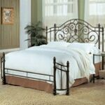 Antique green metal finish queen wrap around headboard and footboard set - A.M.B. Furniture & Design