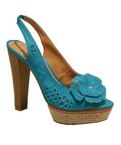 6beb2d0e692 Look at this Red Hot Footwear  Blue Flower Appliqué Heel Sandals on  zulily  today