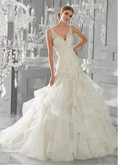 Buy discount Attractive Tulle V-Neck Neckline Open Back Mermaid Wedding Dresses With Beaded Lace Appliques at Dressilyme.com