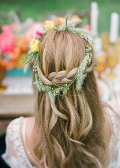 Floral crown & braid - beautiful boho bridal hair