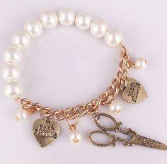 nuevo 2013 vintage retro popular europea artificial de la perla pulsera de cadena con el corazn en forma de colgantes para las mujeres de la danza regalos de fiesta