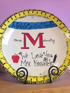 Great teacher gift painted at Dish It Out Pottery painting DIY Teacher appreciation gift idea.