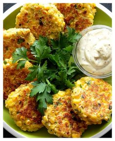 Vegan Corn Fritters - No Dairy! Made with Fresh corn kernels, cornmeal and homemade creamed corn & a little kick with green chiles.