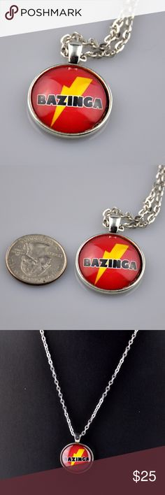 "Red Bazinga Big Bang Theory 24"" Necklace What better way to channel your inner Sheldon Cooper than with this red Bazinga pendant necklace. Handmade pendant is 1"" round and made with a high quality photo image, sealed behind glass, and mounted in an antique silver tone tray. This Big Bang Theory Necklace comes with a matching 24"" chain necklace. Hand assembled so small air bubbles may be present. Water resistant not waterproof. Smoke free pet friendly home. RBBT01 Jennies Jewelry Chest…"