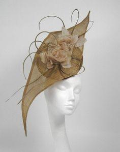 Gold  Fascinator Kentucky Derby or Wedding Hat by Hatsbycressida, $150.00