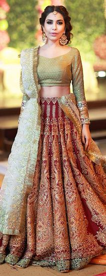 Top 20 latest bridal lehenga designs of 2015 Indian Bridal Wear, Asian Bridal, Bride Indian, Pakistani Outfits, Indian Outfits, Ethnic Fashion, Asian Fashion, Desi Clothes, Indian Clothes
