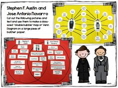 Venn Diagram and Double-Bubble map to use for comparing Stephen F. Austin and Jose Antonio Navarro.  Part of a larger Texas symbols, founders, and sentence scramble pack.  Helps hit kindergarten TEKS