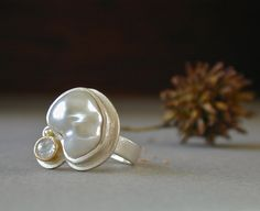 White Freeform Pearl and Rose Cut Diamond Ring in by betsybensen