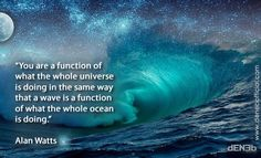 """You are a function of what the whole universe is doing in the same way that a wave is a function of what the whole ocean is doing."" Alan Watts"