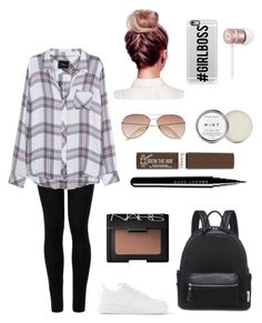 """Airplane Outfit: Casual Girl"" by amanrose on Polyvore featuring Wolford, Casetify, Rails, NIKE, H&M, Beats by Dr. Dre, Rimmel, Marc Jacobs and NARS Cosmetics"