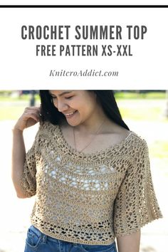 This is a easy crochet top pattern with step by step video tutorial and written pattern, includes US women's sizes XS-XXL. Crochet Shirt, Crochet Crop Top, Crochet Cardigan, Easy Crochet, Knit Crochet, Crochet Tops, Tutorial Crochet, Cardigan Pattern, Cute Summer Tops