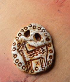 Primitive Deer Totem polymer clay artisan bead by studiotambria