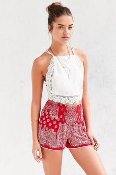 Patrons Of Peace Printed Smocked Waist Short