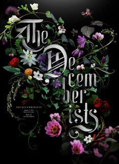"""Event poster for The Decemberists, Artist Sean Freeman took inspiration from """"those beautiful old tea cups"""", giving it a classical elegance and full of life."""