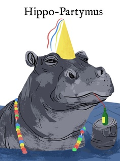 Tim Parker Illustration - Hippo-Partymus Card