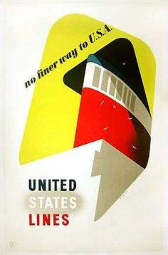 No finer way to USA - United States Lines, by Armengol, early 1950s