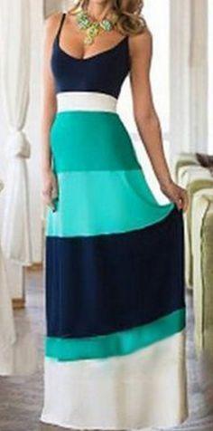 spaghetti strap color block dress