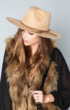 Henrietta Hat ~ Camel with Brown Braid