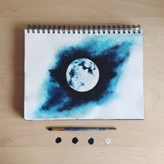 moon watercolor