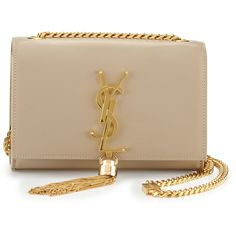 Saint Laurent Monogram Small Tassel Crossbody Bag (6.324.290 COP) ❤ liked on Polyvore featuring bags, handbags, shoulder bags, beige, brown crossbody, beige handbags, crossbody purse, beige purse and flap crossbody