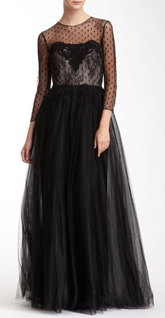 Notte By Marchesa Lace & Mesh Knit 3/4 Length Sleeve Gown