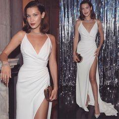 V Neck White Maxi Dress with Split