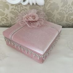 Fabric Covered Boxes, Fabric Boxes, Card Box Wedding, Wedding Gifts, Baby Girl Clipart, Crochet Waffle Stitch, Wedding Embroidery, Baby Sewing Projects, Decoration Piece