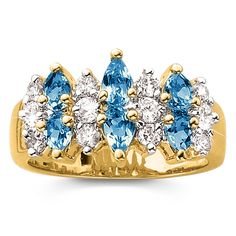 Genuine Blue Topaz and CZ Band Ring.
