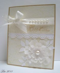 Made for this month's challenge.  Lots of heat embossing.  Thanks for looking!  supplies: S5341 Lace Background CG291 3 Dotted Flowers AR130 Handwritten Sentiments