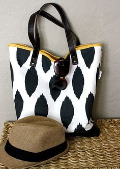 Ikat Tote with leather bottom and straps by FlyChicks on Etsy, $70.00