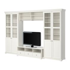 LIATORP TV storage combination, white, 130 Are you a romantic at heart? Combine with other furniture in the LIATORP series for a complete, beautiful look. Tv Cabinet Ikea, Glass Cabinet Doors, Glass Door, Ikea Tv, Ikea Liatorp, Ikea Wall Units, Design Ikea, Media Furniture, Apartment Furniture