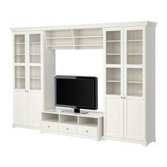 IKEA - LIATORP, Combinaison meuble TV, , Les corniches et plinthes permettent d'harmoniser l'ensemble lorsque vous combinez plusieurs éléments.Pieds réglables pour une grande stabilité même sur supports irréguliers.Des portes vitrées permettent de garder vos objets à l'abri de la poussière mais toujours visibles. Vendues séparément.Tiroirs coulissants pourvus d'arrêts qui les maintiennent en place.Un passe-câbles à l'arrière du meuble permet de regrouper les câbles.