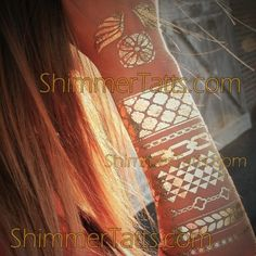 Boho chic fashion statement: ShimmerTatts metallic tattoos. For MORE bohemian style temporary tattoos visit www.ShimmerTatts.com now OR CLICK pic.
