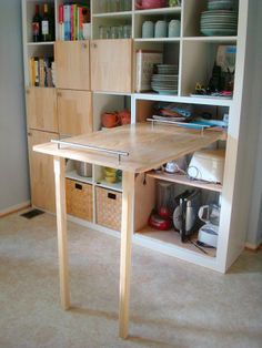 Ikea Expedit Hack for Kitchen- counter folds up