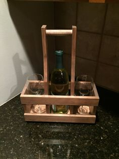 Wine Carrier Wine Caddy by ABFwoodworks on Etsy