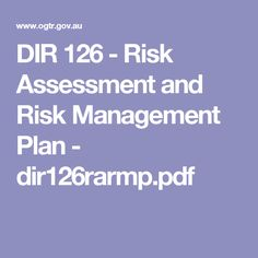 Dir   Risk Assessment And Risk Management Plan  DirRarmp