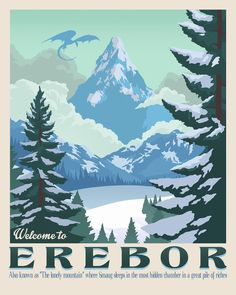 Poster Discover Erebor wall art The Lonely mountain The Hobbit Smaug dragon Bilbo Bolson Tolkien retro travel Lord of the rings Middle Earth Thorin Hobbit Art, O Hobbit, The Hobbit Movies, The Hobbit Thorin, Gandalf, Smaug Dragon, Art Mural, Wall Art, Illustration Photo