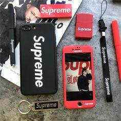 ブランド シュプリーム iPhoneフルカバーケース ストラップ付き Supreme iphone7ケース 全面保護可能 専用ガラスフィルム付き ボタンシール付き アイフォン7ケース レッド ブラック カップル クール 男性 女性 頑丈