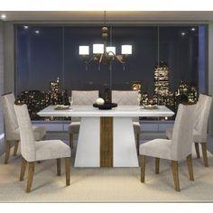 Conjunto de Mesa Itália Branco 6 Cadeiras Golden Branco Suede Pena Bege