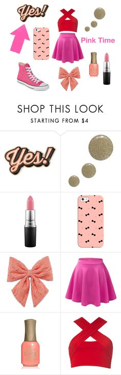 """Pink Time"" by super21 ❤ liked on Polyvore featuring Anya Hindmarch, Topshop, MAC Cosmetics, Casetify, Decree, LE3NO, Motel and Converse"