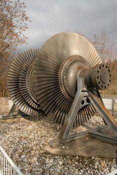 Low-pressure turbine rotor of the block D, Dachelhofen steam power plant (in operation from 1972 to 1997) in Wackersdorf, Germany.