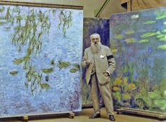 "detournementsmineurs: ""Claude Monet in front of his ""Water Lilie"" paintings. """