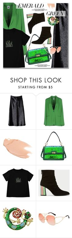 """Emerald City: Pops of Green"" by paculi ❤ liked on Polyvore featuring M Missoni, Too Faced Cosmetics, StreetStyle, casual, black, GREEN and emeraldgreen"