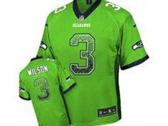 Nike Seattle Seahawks #3 Russell Wilson Green Jerseys(Elite Drift Fashion)