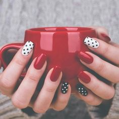 Nails - polka dots black white red sophisticated #work #everydaynails