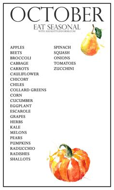 Seasonal Produce Guide for October is all about the gourds and squash.  We get to enjoy that sweet pumpkin and brussels sprouts.  Not necessary together.  Onions and greens are finishing up before the cold weather hits, so gobble them up while they are in their prime. - A Healthy Life For Me