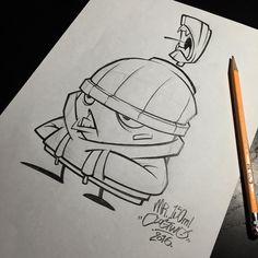 "Late night sketch of ""Mr. 150"" chillin' in da hood. 2I6 Graphite ---------------------------------------------------- #clogtwo #inkandclog #graffiti #spraycan #mr150 #architecgraff #TheCloggedCaps by clog_two"