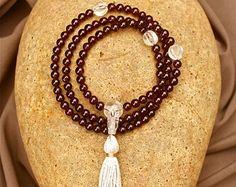 Small Garnet Mala Beads with Fluted Quartz - Yoga Mala Prayer Beads Prosperity