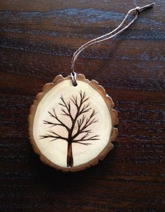 Wood Burned Tree Ornament: Wood Burned Tree Ornament
