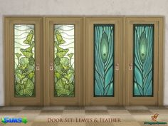 A set of wood doors, in four frame colors, with stained glass insert.  Includes an amazing rendition of pumpkin leaves and a beautiful peacock feather.  Found in TSR Category 'Sims 4 Construction...